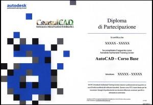 Esempio di attestato di partecipazione ai corsi Consulcad regolarmente riconosciuti da Autodesk